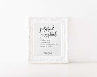 Polaroid Guestbook Sign, Modern Wedding Signs, Strike a Pose Wedding Photo Guestbook Sign, Black Wedding Reception Sign, PDF