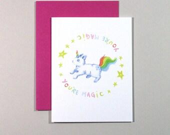 Magic Bunicorn Card // Love Card, Friendship Card, Bunny Card, Cute Card