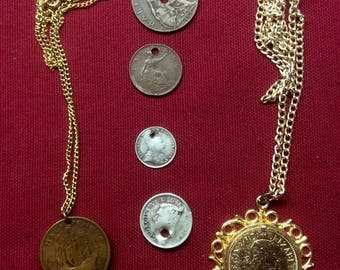 Lot Antique Vintage COIN Charm Pendant, British Half Penny, Canada, Silver 5 Cents