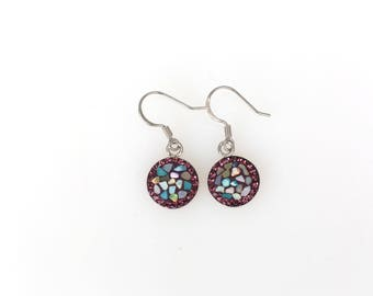 Round Split Mother Of Pearl, Swarovsky Crystal, Sterling Silver Ear Wire, Amethyst Color, Korean Unique Style