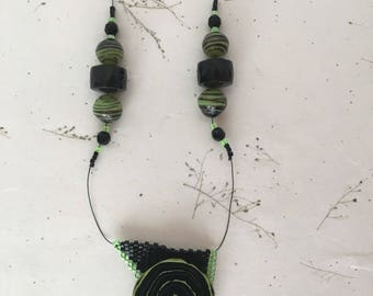 Lime and Licorice Necklace, Beaded Necklace, Gemstone Necklace, Lampwork Glass Necklace, Button Necklace, Green and Black Necklace
