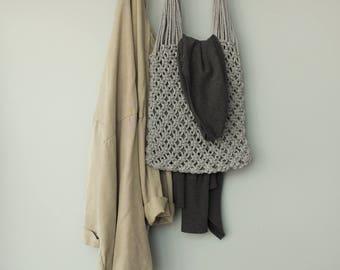 Macrame Tote Bag - Ecobag - Shopper Bag - Natural Linen and Cotton Bag - Eco Friendly Bag - Vegan Bag - Summer Bag - Grey Color