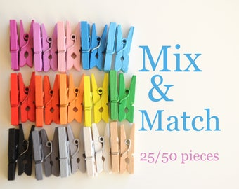 You pick the colors! Mini clothespins in 15 colors, 25/50 pieces, 1 inch clothespins, wooden clothespins, colorfull pegs, tiny clothespins