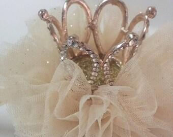 crwon headband,1st Birthday headband,1st birthday,littlegirl headband,tulle headband.Crown headband Rose gold felt