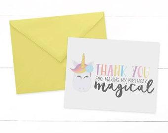Unicorn Thank You Cards - Rainbow Unicorn Thank You Card- Unicorn Birthday Party - Unicorn Note Card - Thank You Cards-SET OF 10