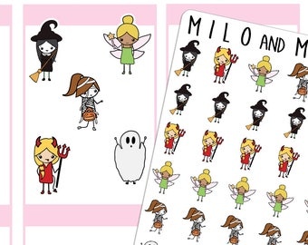Halloween Costume Emoji Girls | Planner Stickers