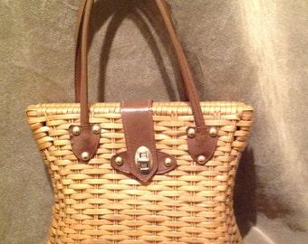 1950s Vintage Basket Bag / Purse