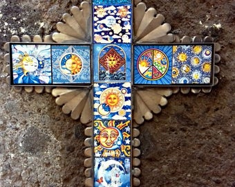 "Blue Sun Moon big cross Mexican folk art ceramic tiles and metal collection Hacienda decor wall art 15.25"" x 11.5""x 0 .5"""