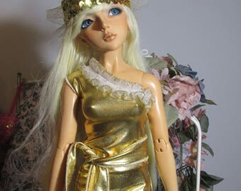Handmade Doll Clothes, Golden Drama Dress, Fits 62 cm Bjd, Superdollfie Doll, Sale!!