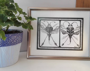 ORIGINAL Mixed Painting - Bugs II // Fantasy Framed Black Ink & Tempera Graphics On Paper, Surreal Insects Wall Art, Butterflies Drawing