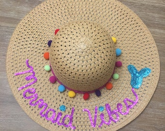 Mermaid Vibes beach hat / mermaid floppy hat / summer straw hat / pomp hat