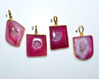 1 Piece Agate Druzy Geode Slice Electroplated Edge - Agate Druzy 24k Gold Plated Pendant , 34 - 40 mm , AH335 (You Choose)