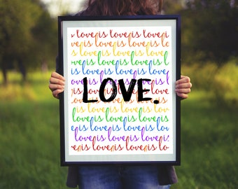 Love is Love is Love Print / Instant Download Printable / Lin Manuel Miranda Quote / Colorful Rainbow Pride Wall Art Decor