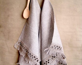 Hand towels linen Kitchen dish cloth Hand towels gray  Linen tea towels Kitchen linens Hand towels crochet Tea towels Hand towels set Gift