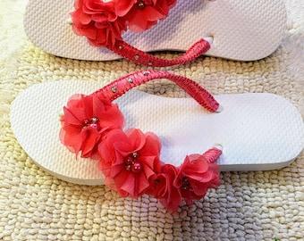 Pair Fucsia Flip Flops Wedding Flip Flops Bridal, 1 Rhinestones