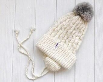 Cream Baby merino hat Organic baby clothes Baby reveal box Organic newborn hat Knit earflap hat Merino wool baby hat Woolen hat Crochet