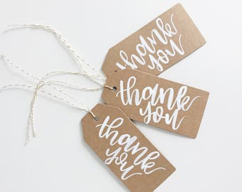 Custom Brown Kraft Thank You Tags | Hand lettered Tags | Perfect for weddings, birthdays, bachelorettes, bridal shower, parties, and more! |