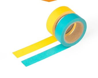 2 Pack Teal and Neon Yellow Color Washi Tape - 15mm Wide by 9.75 Meters Long Each, Light Weight Thin Decorative Japanese Tape