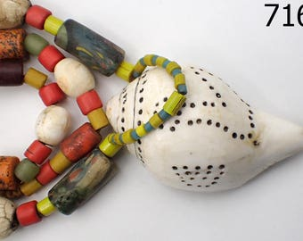 AUTHENTIC Chank Shell Pendant & Nagaland Glass Beads Necklace Tibet Nepal #7162