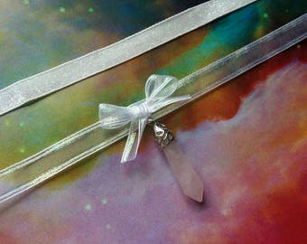 White Iridescent Holographic Chokers - Pink Crystal Charm - Glitter Iridescent Necklace