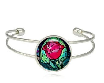 Enchanted Rose Cuff Bangle Beauty and the Beast Bracelet Rose Cuff Bracelet