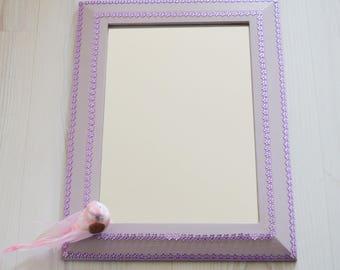Lilac Mirror, Purple Daisy 2 Way Wooden Framed Mirror, Decorative Mirror, Hand Painted Mirror, Wall Mirror, Girls Mirror, Dainty Kids Mirror