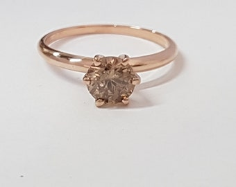 certified 0.90 ct round cut solitaire diamond engagement Ring 14k Rose gold hand made