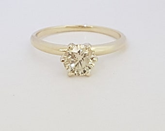 certified 0.70 ct round cut solitaire diamond engagement Ring 14k Yellow gold hand made