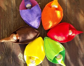 A Set of Six  Matching Autumn Leaves and Gnomes Autumn Fall Sensory Toy