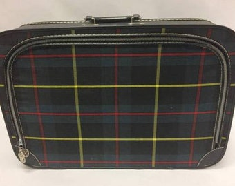 1960's Plaid Overnight Bag | Mod | Old New Stock | Small Luggage | Dead stock | Locked Luggage |Carry on Case | Old Luggage | Retro Suitcase