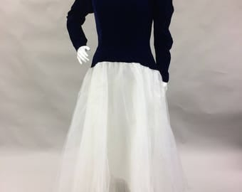 1980s 1990s Navy Blue Velvet and White Tulle Prom Formal Dress 3 Sizes!!! High Low | Deep V Back | Matching Dresses | 1980s does 1950s