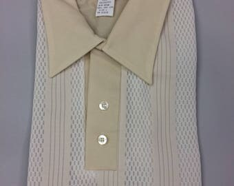 60's Men's Polo Striped front and Plain Back Shirt by ENCINO SHIRT, INC.| Size Medium | Deadstock | New in Package | Never Worn