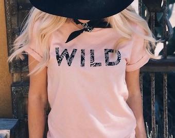 Women's Graphic Tee, Womens Shirt, Wild Shirt, Hippie Tee, Wild and Free Shirt, Boho Shirt, Ladies Shirt, Wildflower, Hippie Style, Boho