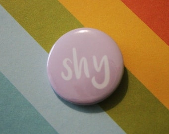 Shy Introvert Badge 25mm Pinback Button Purple