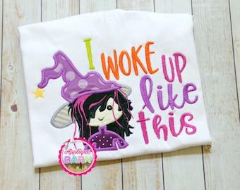 Witch Halloween Applique Design, Halloween Embroidery Design, Witch Machine applique, Girl Halloween Applique, I woke up like this design