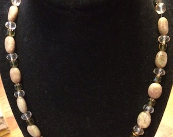 Beaded choker with earth tone colored beads, magnetic clasp