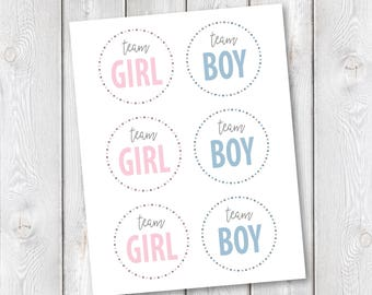 "Team Girl/Team Boy Printable Tags || 3""x3"" Round Tags, Button Pin Insert 