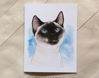 SIAMESE CAT CARD >> Siamese Cat Greeting Card, Cat Greeting Card, Cat Thank You Card, Cat Birthday Card, Blank Card, Cat Lover Card