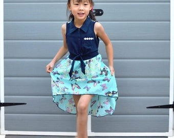 Doorbuster Butterfly Chiffon Hi-Low Dress