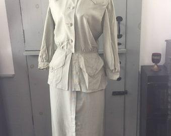Vintage 1930's 1940's light green cotton skirt suit