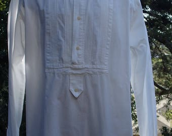 Mens white cotton western frontier wedding poet shirt