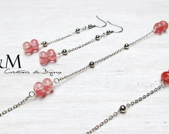 Strawberry Quartz beads necklace and earrings silver
