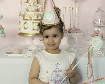 "Party - themed ""Princess Carousel"" - birthday Hat"