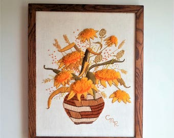 "Framed crewel embroidery ""Indian Basket Bouquet"" by Sunset Stitchery / 70s 80s vintage decor"