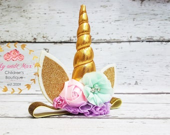 Unicorn headband, pastel colors and gold unicorn headband, unicorn party headband, gold glitter elastic unicorn headband