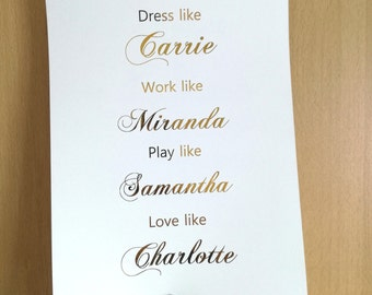 Sex and the City Print - SATC Foil Print - Copper Silver Gold - Copper Home Decor - Dress Like Carrie Wall Art