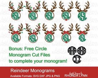 Reindeer SVG, dxf, jpg, png vector cut file | Reindeer Mongram | Christmas Deer Antler Monogram | Deer Antler Monogram SVG |Christmas svg