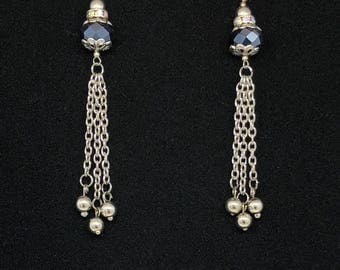 Chain / Indigo Blue Faceted Crystal Beads Earrings.Sparkle Beads/Dangle Style chain Earrings.Jewelry Gift.