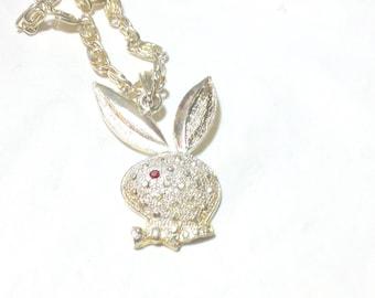 Vintage Playboy Bunny Silvertone Necklace