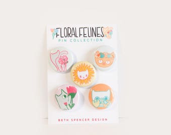 Cat Flower Pins / Cat Pins / Flower Pins / Cute Can Pins / Cats / Flowers / Gifts for Cat Ladies / Cat Buttons / Flower Buttons / Cat Gifts
